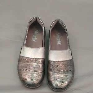 Alegria silver patterned slip on shoes